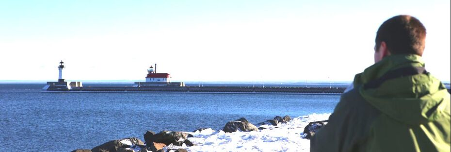 View from Canal Park Boardwalk in Duluth, MN. On Lake Superior.